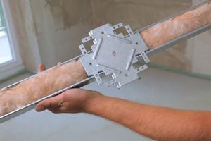Um die Schallübertragung zu minimieren, wurden die Profile mit Glaswolle gefüllt