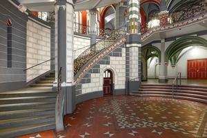 Nach wenigen Schritten betritt der Besucher das Mittelhaus mit der prächtigen, zweifach geschwungenen Treppe<br />Foto: Caparol / Udo Stieglitz