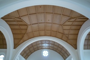 Vorgängerversion des Baukastensystems: Gewölbte Holzkassettendecke in der Kirche St. Maria Verkündigung in Schramberg<br />Foto: Esdra