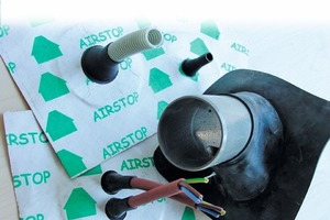 Luftdicht verklebte Kabelmanschetten mit alterungsbeständigen Dichtpflastern garantieren, dass Dampfbremsen und andere Werkstoffe ihre Aufgabe als Luftdichtheitsebene effektiv erfüllen<br />