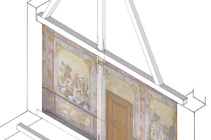 Darstellung der Sprengwerks, Konstruktion an der Südseite des Papstzimmers Abbildung: Barthel & Maus