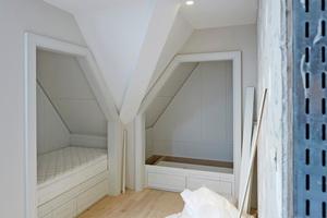 Die zahlreichen Übergänge zu Dach- und Wandschrägen in den Zimmern machten die Trockenbauarbeiten zu einer echten Herausforderung