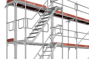 Eine Podesttreppe ermöglicht einen schnellen, sicheren und komfortablen Aufstieg im Gerüst – selbst mit Arbeitsmaterial