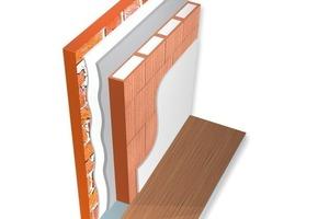 Eine effektive Innendämmung bestehend aus – von außen nach innen – Bestandswand, Innenputz, Hinterfüllung, Poroton-WDF. Als Endbeschichtung reicht ein herkömmlicher Innenputz<br />