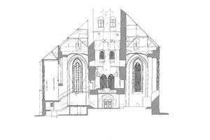 Schnitt durch das Westwerk, Blickrichtung Westen, Maßstab 1:200 Quelle: Pläne erstellt durch Messbildanstalt Dresden 2013, zur Verfügung gestellt durch den Kirchenkreis Lübeck-Lauenburg