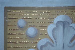 Wachsmordentvergoldung Detailansicht einer Graumalerei