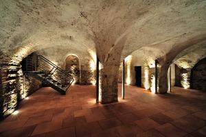 Der 1234 unter dem ursprünglichen Kern erbaute westliche Kellerteil wird von Gewölben auf mächtigen Pfeilern überspannt, deren Fundamente durch Injektion verpresst werden mussten<br />