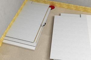 Powerpanel TE Gefälle-Elemente ausrichten und Estrichkleber auf Stufenfalz auftragen