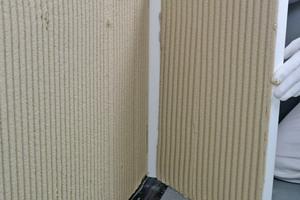 Statt horizontal klebt man die Dämmplatten hochkant an die Wand