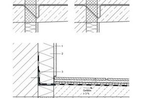 Falsch (oben links): Fehlende Dämmung am Sockel Falsch (oben rechts): Abdichtung auf dem WDVS Sanierungsvorschlag (unten): Anschluss Balkon – WDVS Variante mit Sockelputz Abbildung: Joachim Schulz
