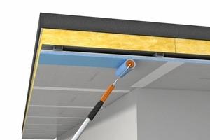 Powerpanel H2O Platten inklusive der Plattenkanten vollflächig mit Fermacell Tiefengrund grundieren