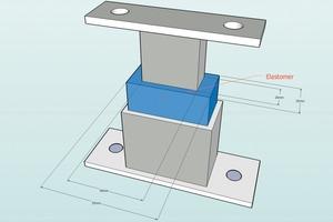 Schemazeichnung für ein handwerklich hergestelltes Auflager zur Befestigung von Treppen an Leichtbauwänden