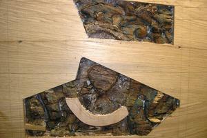 Die schadhaften Stellen im Füllholz werden mit Eichenholz ergänzt<br />