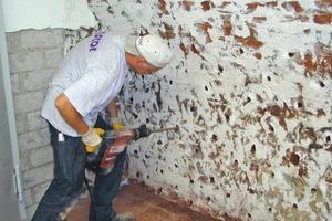 Die Bohrungen im Rasterverfahren gehen durch die Wand bis ins angrenzende Erdreich