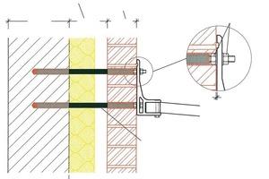Zeichnung: Konsolverankerung mit Injektionsmörtel und Siebhülsen auf zweischaligem Mauerwerk<br />Zeichnung: fischer<br />