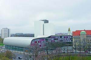 Mit der 2011 fertiggestellten Erweiterung wuchs die Deutsche Nationalbibliothek in Leipzig auf rund 14000m<sup>2</sup> Nutzfläche an<br />