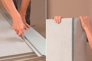 """<div class=""""99 Bildunterschrift_negativ"""">Die zementgebundenen Bauplatten lassen sich dabei leicht verarbeiten: das Gewebe auf der Rückseite wird mit einem Messer geritzt und die Platte dann einfach gebrochen</div>"""