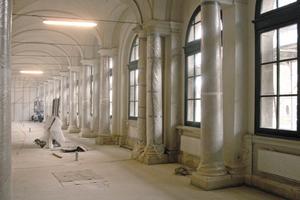 Die Bogengalerie im Dresdner Zwinger während der Sanierung