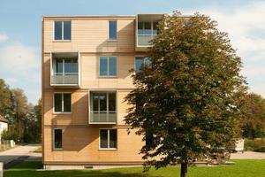 2. Platz: Schankula Architekten aus München und Zimmererbetrieb Huber & Sohn GmbH aus Bachmehring mit einem viergeschossigen Holzhaus in Bad Aibling