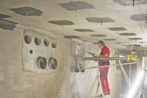 Kernbohrungen für das zukünftige Ab-, Zuluft- und Versorgungssystem im Bunker
