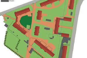 Die großzügige und grüne Wohnsiedlung, insgesamt 2,2 Hektar groß, besteht aus zwölf Haupthäusern und mehreren Nebengelassen