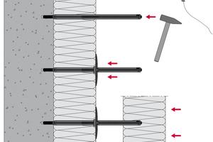Schemazeichnung: Montage bei zweilagiger Dämmung