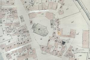 Historische Karte von Viersen, die die ursprüngliche Bebauung illustriert. Das orange markierte Flankhaus trägt die Nummer 114
