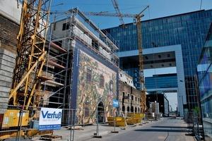 Zurzeit noch eine Baustelle (linkes Bild), soll die Zollhalle12 im Kölner Rheinauhafen schon bald wie auf dem rechten Rendering aussehen und 18Wohnungen von 80 bis 180m<sup>2</sup> sowie 1300m<sup>2</sup> Gewerbeflächen enthalten<br />