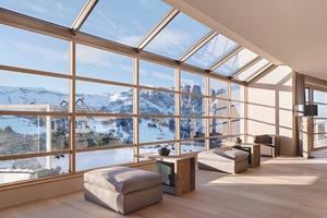 Großzügige Fensterfronten geben im gesamten Hotel den Blick auf das einzigartige Bergpanorama frei<br />